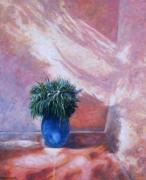 tableau nature morte lumiere jardin fleur exotique : Effet de lumière sur la jarre bleue