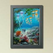 tableau scene de genre jules verne marin illustration de neuville : 20000 lieues sous les mers