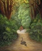 tableau scene de genre jungle foret vierge adam et eve paradis : Satan entre dans le Paradis