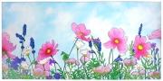 tableau fleurs lavande provence zen printemps : Fleurs mauves des champs
