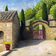 tableau architecture : Petite cour près de l'Abbaye de Fontfroide