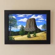 tableau paysages montagne etats unis chien de prairie pins : La Devils Tower ( Etat du Wyoming aux États-Unis)