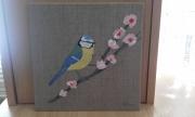 tableau animaux oiseau mesange cerisier arbre : La Mésange