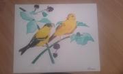 tableau animaux oiseaux goldfinch oiseaux sur branches : couple de goldfinch
