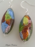 bijoux autres verre de murano boucles d oreil murano beads bo murano : BOUCLES MULTICOLORES