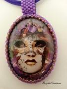 bijoux personnages venise venetian mask : COLLIER PENDENTIF CABOCHON