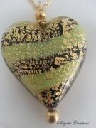 bijoux autres verre de murano coeur murano beads : COEUR DE MURANO VERT ACIDE