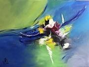 tableau abstrait abstrait couteau pinceau : Temête