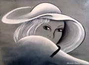 tableau personnages chapeau portrait visage noir et blanc : Abby