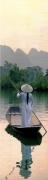 tableau scene de genre asie asia paix peace : Sur les Rives du Mékong
