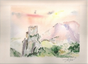 tableau paysages cathare histoire history hillock : Quéribus flamboie