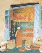 tableau scene de genre egypte epicerie egypt grocery : Dans le souk d'Assouan