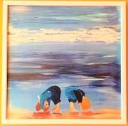 tableau personnages bleu marine vaguelettes navy blue wavelets : Jeux d'Enfants à la Plage