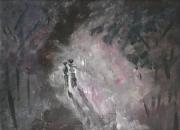 tableau scene de genre solitude melancolie amour separation : Dans le vieux parc solitaire 4