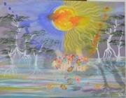 tableau scene de genre fleurs arbres eclipse mains : Présent