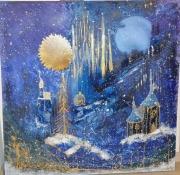 tableau villes nuit neige eglise magie : Magie de Décembre