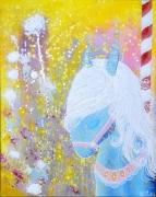 tableau animaux chevaux manege fleurs : Manège d'antan