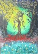 tableau scene de genre foret arbre toile : Hommage à l'araignée