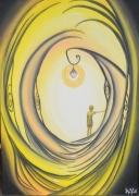 tableau scene de genre garcon lanterne arbre galet : Lumière sur l'inconscient