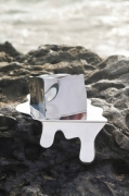sculpture abstrait inox stainlesssteel scuplture melting : Melting cube n°2