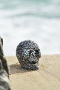sculpture personnages skull tete de mort inox stainless steel : « Big skull »