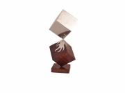 sculpture abstrait inox stainless steel wood bois : Interaction
