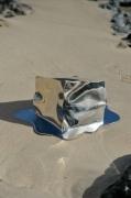 sculpture abstrait inox stainlesssteel melting sculpture : Melting cube n°1