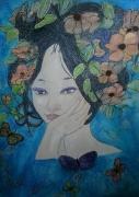 tableau personnages japonaise fleurs papillons : FLEURS DU JAPON ET SES PAPILLONS