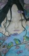 tableau personnages femme fleurs papillons oiseaux : REGARD PRINTANIER