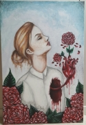 tableau personnages femme coeur sanglant fleuri : Cœur à fleur de peau.