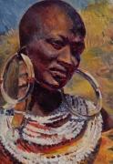 tableau personnages portraiture femme noire afrique spiritualite : Black Madonna