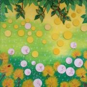 tableau fleurs fleurs pissenlits coccinelle : SOCONELLE