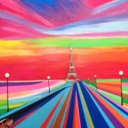 tableau paysages ville paris tour eiffel : VERS PARIS....