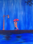tableau personnages amoureux pluie parapluie : LA PLUIE