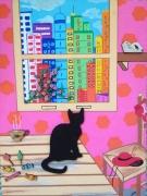 tableau animaux maison chat fenetre : ZUT