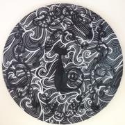 tableau animaux chat noir blanc arabesques : CHARABESQUE