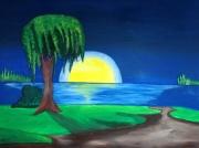 tableau paysages paysage nuit lune arbre : CLAIR DE LUNE