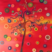 tableau paysages paysage arbre couleur ronds : ARBRE A RONDS