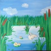 tableau paysages paysage lac cygne roseaux : LE LAC