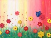 tableau fleurs fleurs printemps papillon : MARIPOSA AZUR