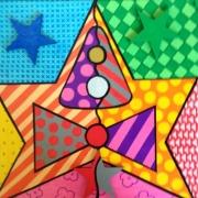 tableau abstrait cirque enfant chapeau noeud : LE CIRQUE