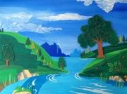 tableau paysages riviere paysage verdure : AU FIL DE L'EAU