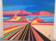 tableau paysages paysage route desert : VERS LE DESERT