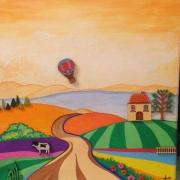 tableau paysages paysage campagne montgolfiere : MONTGOLFIERE