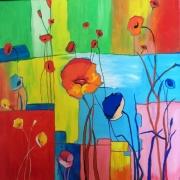 tableau fleurs fleur coquelicots moderne : REVE DE COQUELICOTS