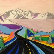 tableau paysages paysage route montagne : VERS LA MONTAGNE