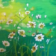 tableau fleurs fleurs champ marguerites : MA REINE