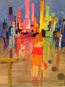 tableau personnages paysage fille ville : NOUVELLE VILLE
