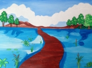 tableau paysages riviere passerelle bois : PASSERELLE