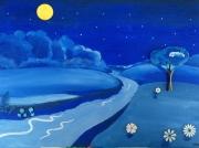 tableau paysages paysage nuit bleu : NUIT BLEUE